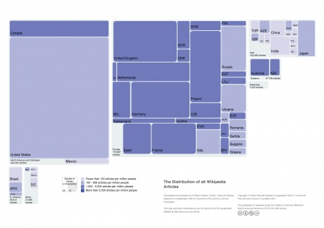 The Distribution of all Wikipedia Articles - Souce CC - http://geography.oii.ox.ac.uk
